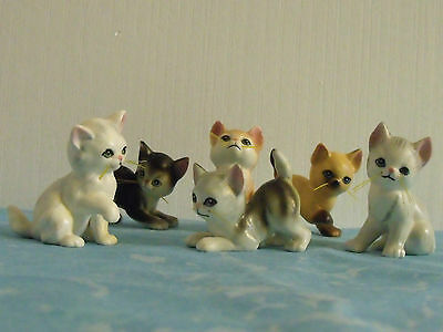 6 Miniature Cat Figurines With Whiskers