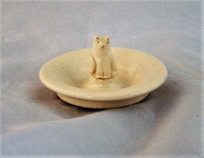 White Ceramic Sitting Cat Ring Holder