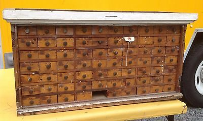 Antique Miller Bros. Apothecary Cabinet- Hardware Tool Cabinet Northampton, Mass