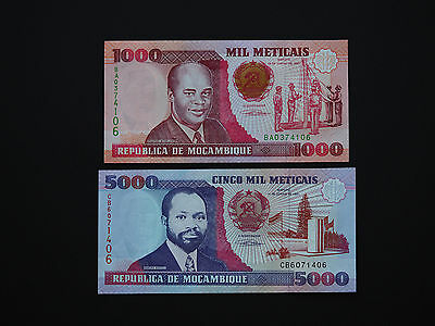 Mozambique Banknotes  -  Stunning Set Of Two  1991  -  Great Colour   Mint Unc