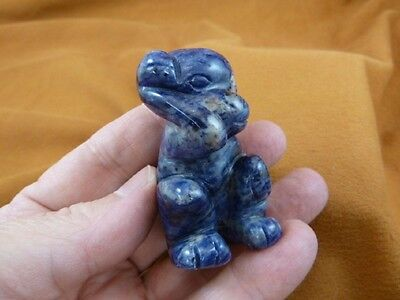 (Y-MON-716) blue gray MONKEY APE gemstone carving stone figurine I love monkeys