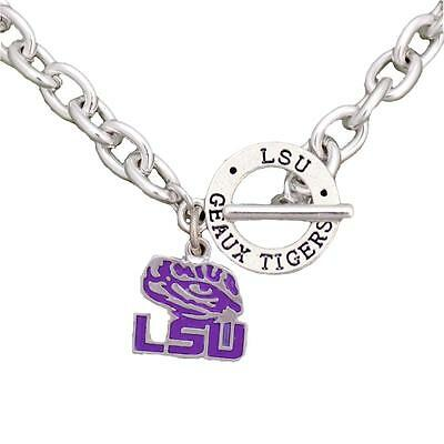 LSU TIGERS LOUISIANA State Team Name Toggle Silver Necklace