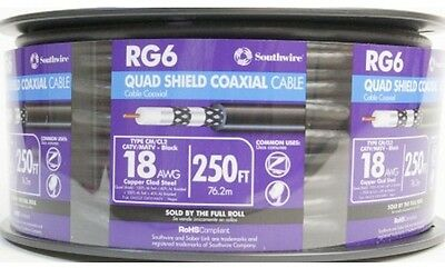 250-Ft 18 Awg Rg6-Quad Shield Black Coax Cable Spool Sunlight-Resistant Outdoor