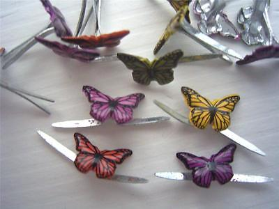 BRADS MINI BUTTERFLIES pk of 6 butterfly bug insect split pin craft scrapbooking