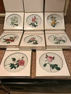 8 -  6in.'Roses of Redoute' numbered Plates from Hutschenreuther, Germany boxed.