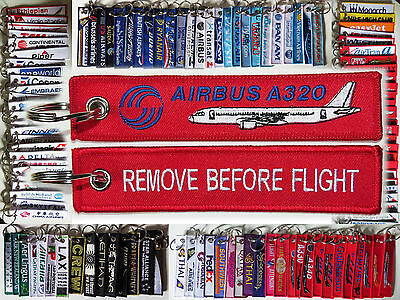 Keyring AIRBUS A320 in red Remove Before Flight keychain for Pilot Crew A 320