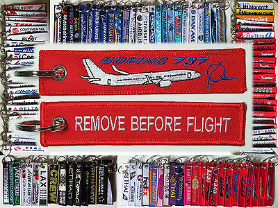 Keyring BOEING 737 in red Remove Before Flight keychain for Pilot Crew B737