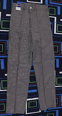 Chef Pants Sz 32 L White Black Checkered Cooking Restaurant Belt Loops New NWT