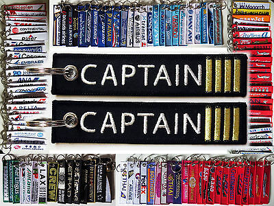 CAPTAIN 4 golden bars Commander PIC keyring keychain tag BLACK/GOLD