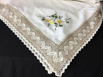 """Vintage Handmade Embroidered Floral 64"""" X 70"""" Ecru Table Linen Crochet Cut outs"""