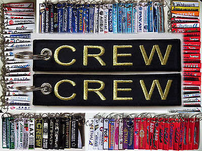 CREW keyring keychain tag airline flight crew pilots BLACK/GOLD