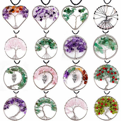 Tree of Life Chakra Gemstone Crystal Stone Chips Reiki Healing Pendant Necklace