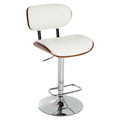 Adjustable Bar Stool PU Leather Swivel Seat Counter Chair Walnut Bentwood White