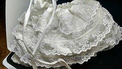 Bridal Money Purse Bag White Hand Made Satin & Lace