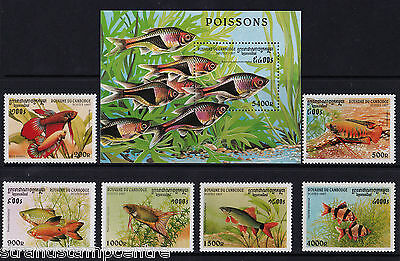 Cambodia - 1997 Fishes - U/M - SG 1702-1707 + MS1708