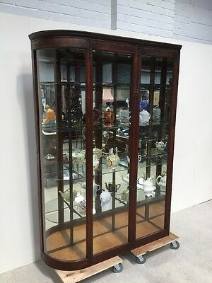 Antique Victorian Mahogany Shop Cabinet With Curved Glass End Rare Design