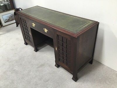 Antique Oak Desk Art And Crafts Design Leather Top Rare Design