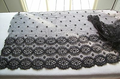 Vtg Antique Victorian Edwardian Corded Wide hand made Silk Lace Trim