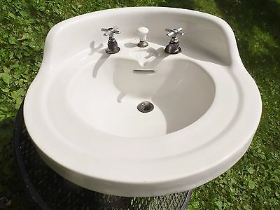 RARE 1919 Antique Signed Tepeco Trenton Potteries Round White Bathroom Sink