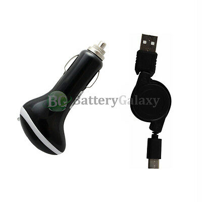 USB Type C Retract Cord+RAPID Car Charger for Motorola Moto Z Force/Play Droid
