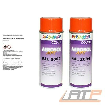 2x 400ml DUPLI COLOR AEROSOL ART RAL 2004 REINORANGE LACK SPRAY 732942 32156741