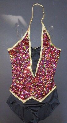NWT Black Tap leotard with attached sequin vest gold rasberry ch/ladies sizes