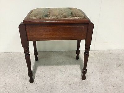 Edwardian Inlaid Mahogany Piano Stool With Lift Top Music Storage