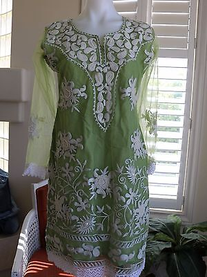 Indian ethnic Medium embellished embroidered Green white kurta kurti tunic