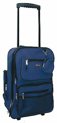 "HiPack 19"" Rolling Backpack Carry-on Luggage Wheeled Bag - Overnighter NAVY"