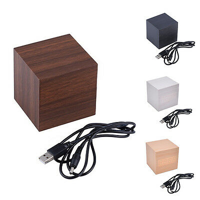 Modern Cube Wooden Wood Digital LED Desk Voice Control Alarm Clock Thermometer W