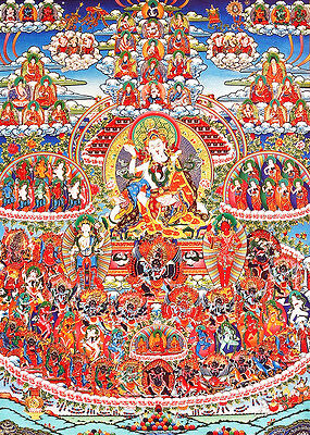 "48"" Mineral Color Scroll Tibet Buddhist ThangKa Refuge Field Of Padmasambhava"