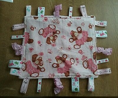 Child baby ribbon taggie cuddle blanket fleece pink teddies handmade