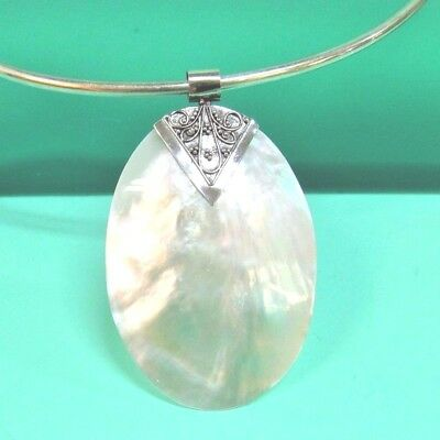 Oval Mother of Pearl Shell Filigree Handmade Sterling Silver Pendant Necklace
