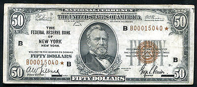 Fr. 1880-B* 1929 $50 *Star* Frbn Federal Reserve Bank Note New York, Ny