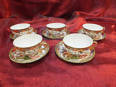 Antique Signed Meiji Period Hand-painted Kutani 5 Cups & Saucer Sets