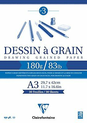 Clairefontaine Grained Drawing Paper Pad, White, A3, 180 g