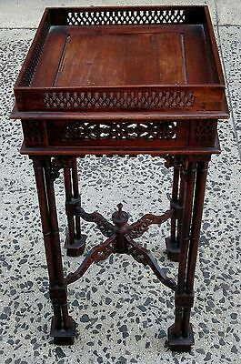 Antique English Oriental Mahogany CHINESE CHIPPENDALE Stand BAMBOO Side TABLE