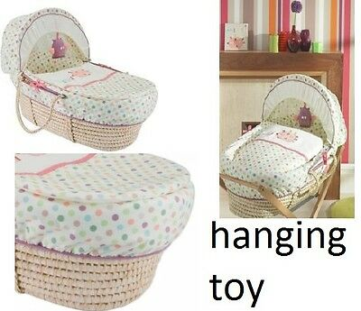 3pc unisex Lollipop Lane Prickle & Twoo Moses  basket dressing set new with toy