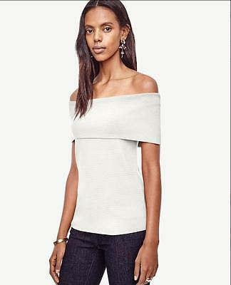 6604da360aa NWT Ann Taylor Sleeveless Off The Shoulder Sweater Top $89.50 Winter White  NEW