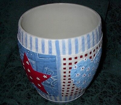 Patriotic/americana Resin Star/heart Theme Wastebasket-New