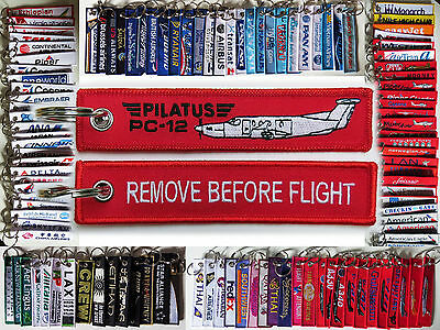 Keyring PILAUTS PC-12 Remove Before Flight keychain tag for pilots