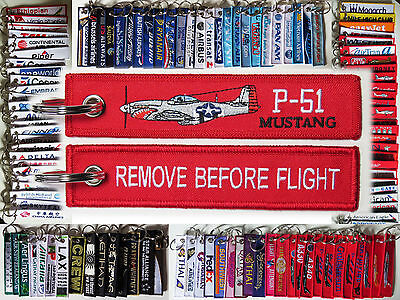 Keyring Warbird North American P-51 MUSTANG Remove Before Flight keychain tag