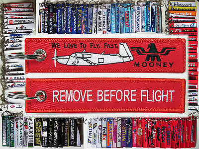 Keyring MOONEY AIRCRAFT M20 Remove Before Flight keychain tag for pilots