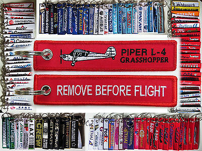 Keyring PIPER GRASSHOPPER L-4 Remove Before Flight tag keychain tag for pilots