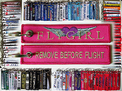 Keyring FLYGIRL PINK Lady Pilot Remove Before Flight tag keychain tag for pilots
