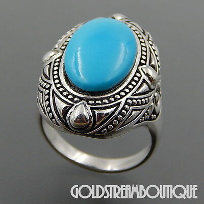 J&T Jewellery Sterling Silver Genuine Oval Turquoise Byzantine Cocktail Ring (9)