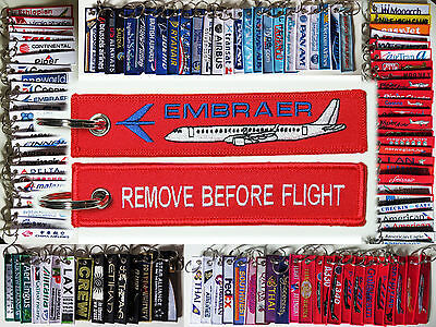Keyring Embraer ERJ JET for Pilot Remove Before Flight tag keychain tag