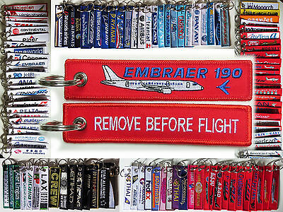 Keyring Embraer E-190 for Pilot Remove Before Flight tag keychain tag