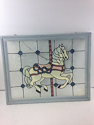 Stained Frosted Glass Window Panel Carousel Horse Blue Wood Frame Painted