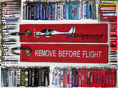 Keyring DIAMOND Airplane DA-20 Pilot RED Remove Before Flight tag keychain